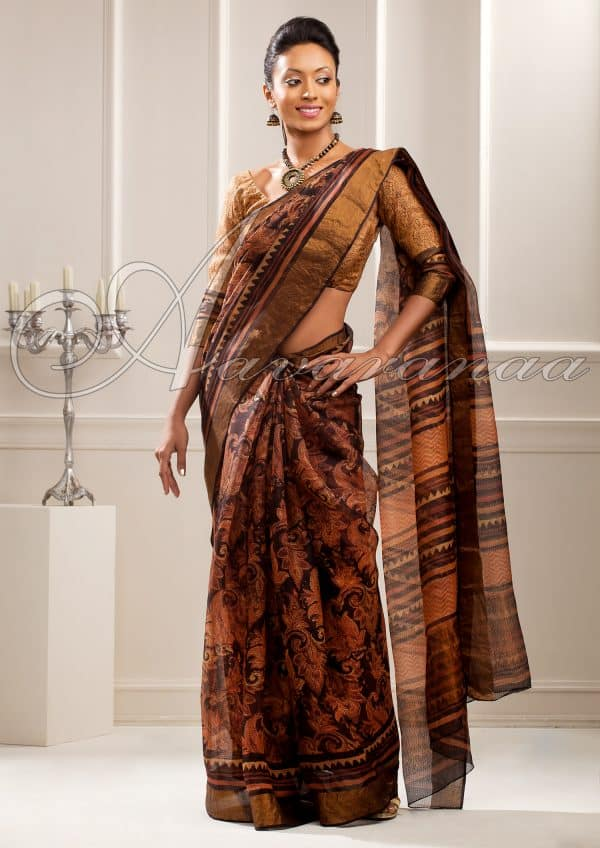 Classic black and brown Kalamkari
