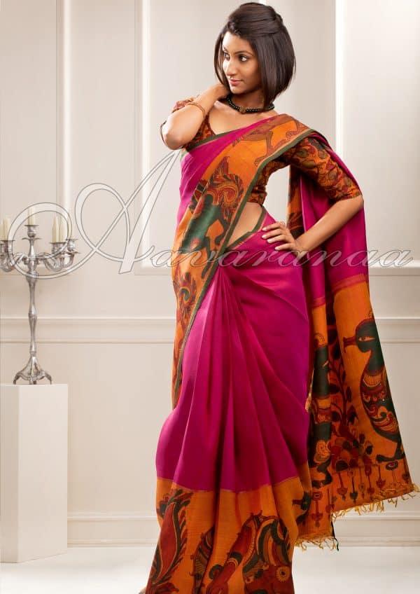 Trendy dark pink kancheepuram sari