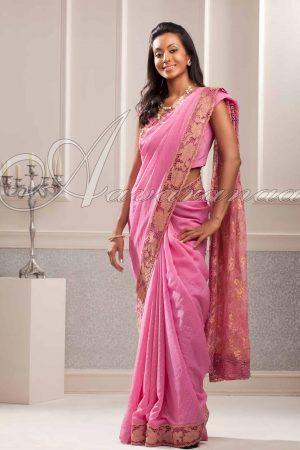 Pink chiffon silk saree