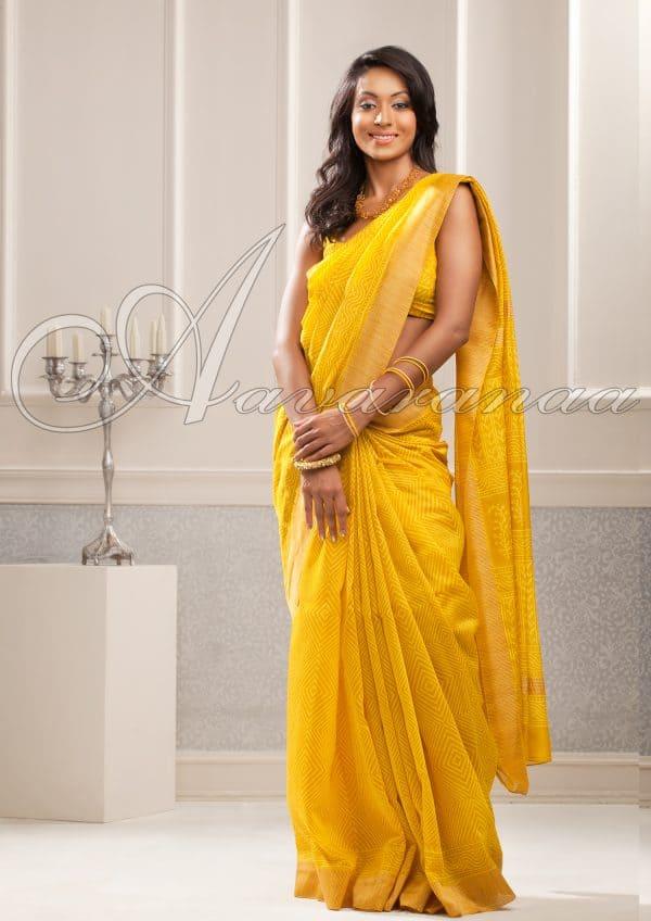 Brilliant Yellow Maheshwari Cotton saree
