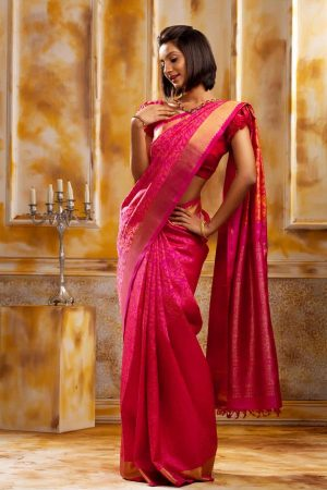 Rani pink silk with pure zari woven-0