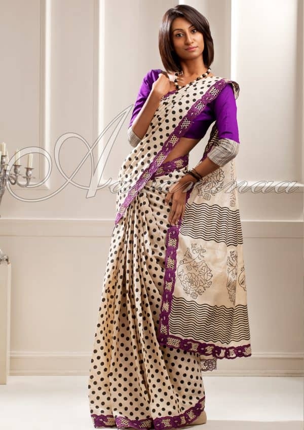 Tussar silk with cut work -0