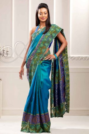 Kanchipuram silk with cutwork -0