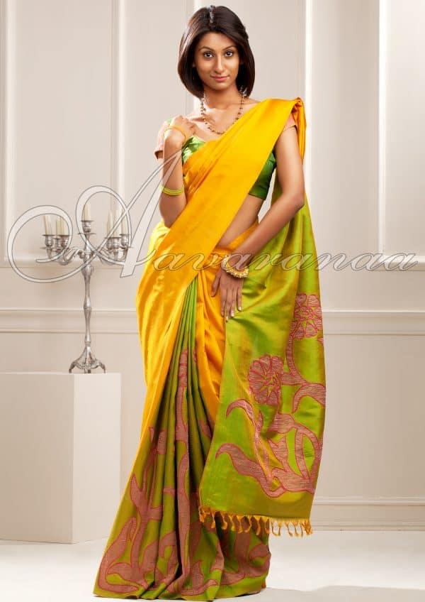 Kanchi Silk with tissue appliquéd-0