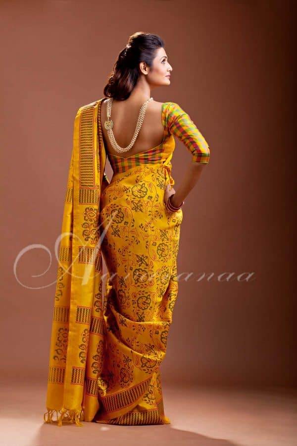 Buy Bright Yellow Kancheepuram Silk Saree | Aavaranaa-0