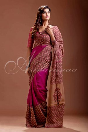 Georgette with block print-0