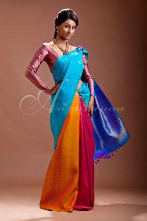 Multicolored kancheepuram silk saree-0
