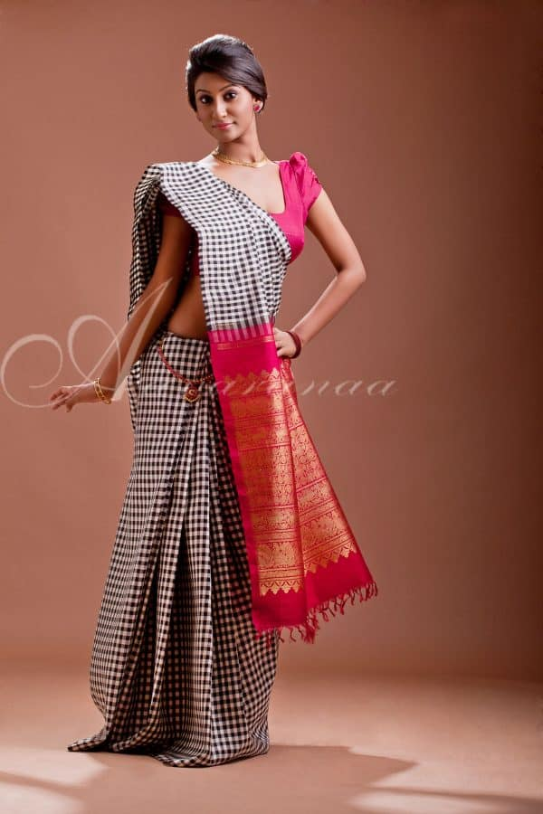 Black and white checks silk saree-0