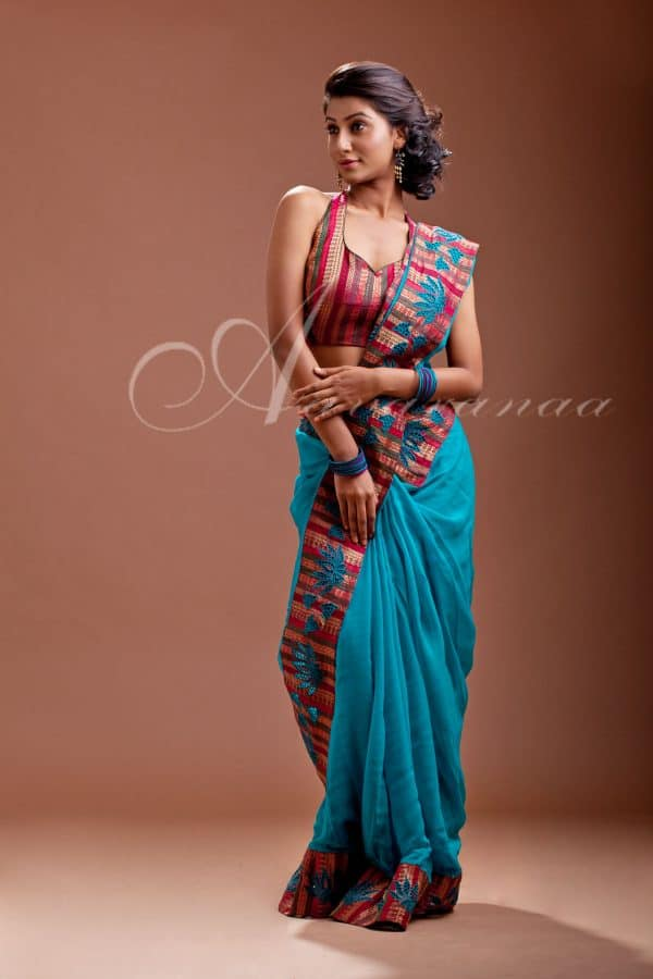 Chiffon saree with multi color -0