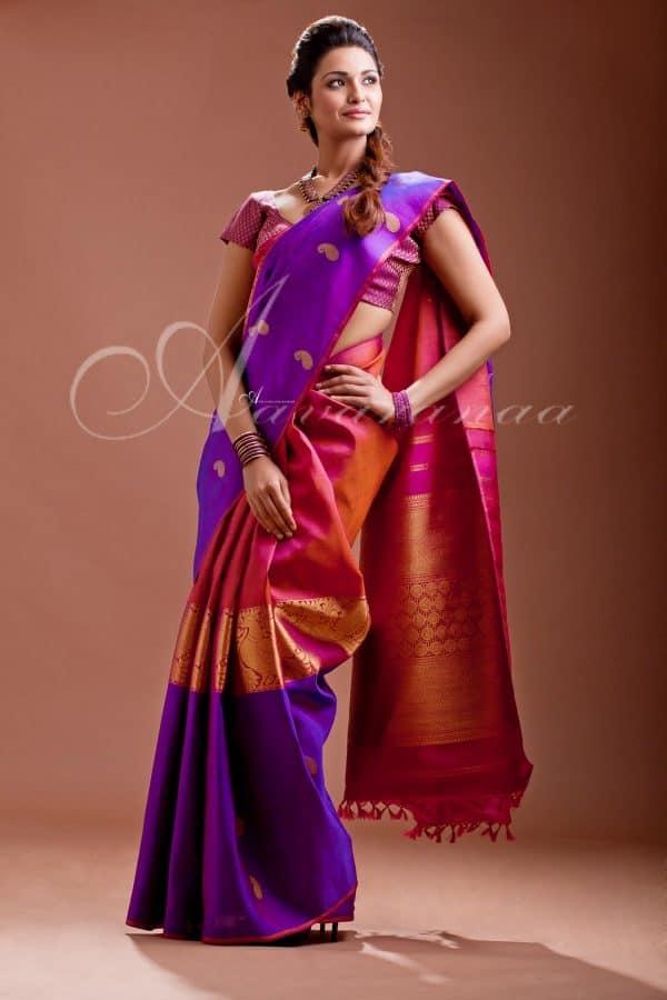 Violet Kancheepuram Silk Saree-0