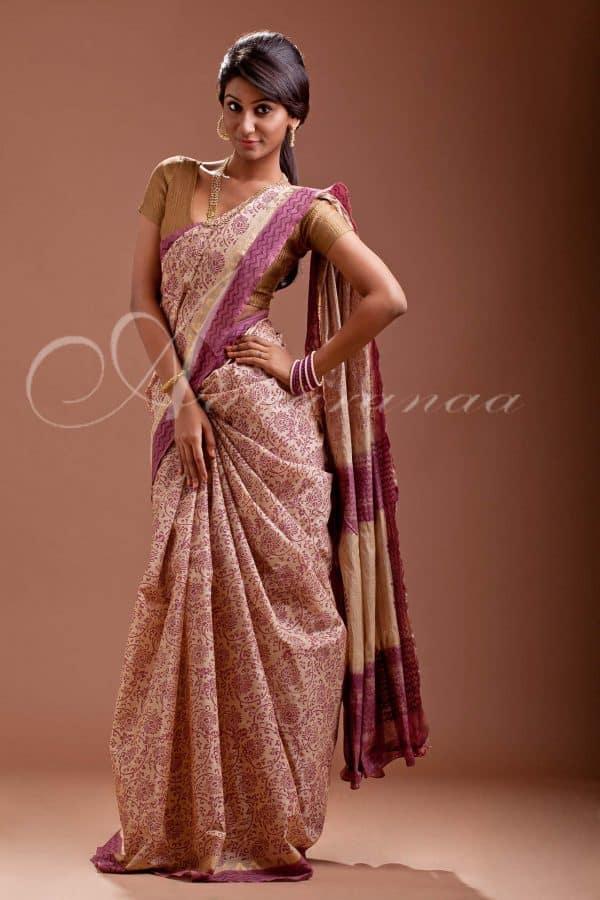Beige Block printed dhakai silk-0