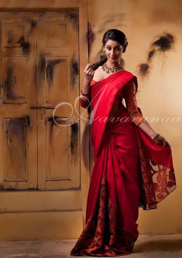 Kanchipuram Silk Saree with cutwork-0