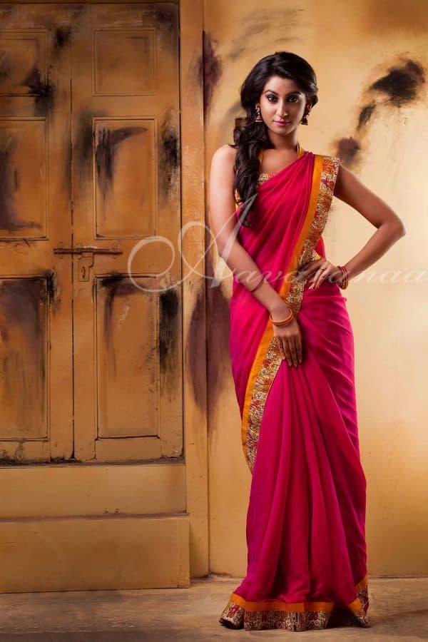Pink chiffon saree-0