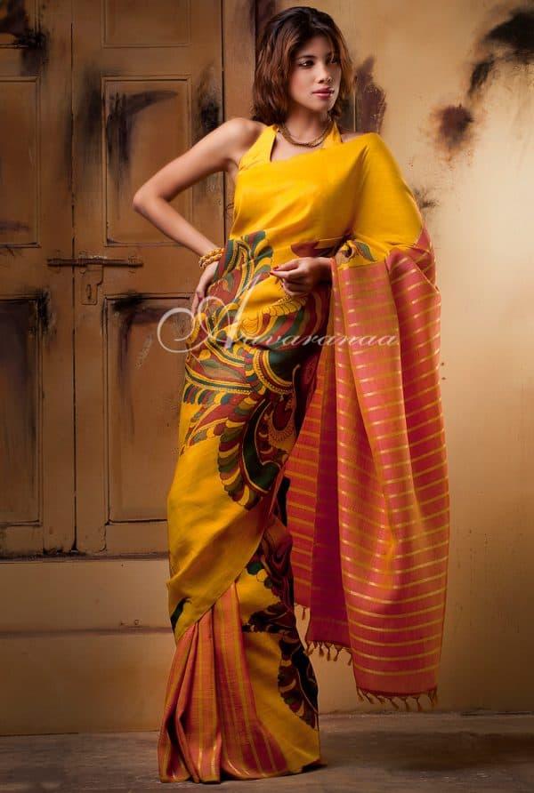 Mustard and peach kanchipuram silk saree-0