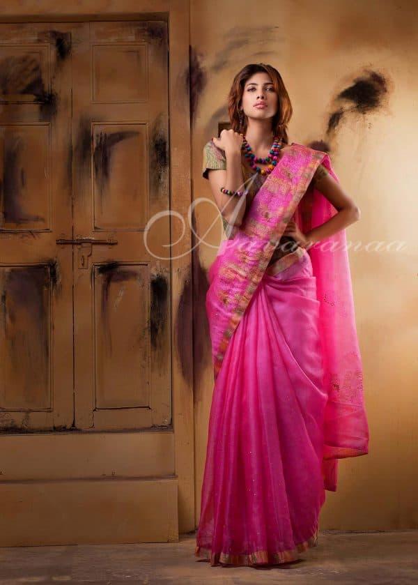 Neon pink tussar kota saree-0