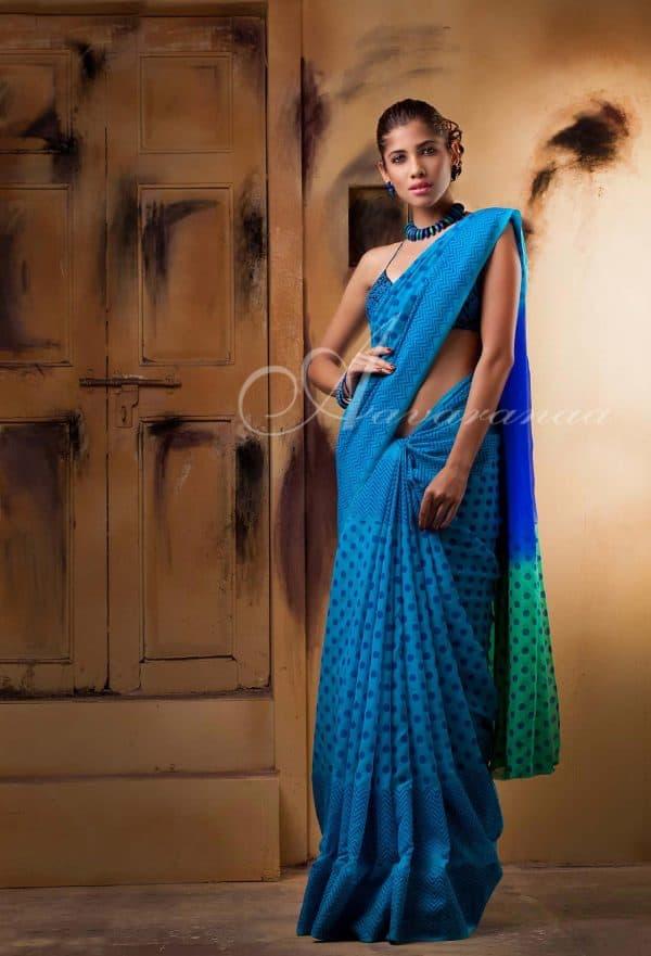 Electric blue chiffon silk saree-0
