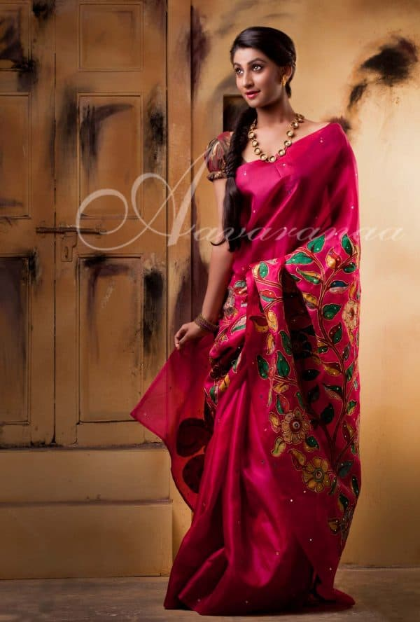 Organza silk saree with mirrors and applique work-0