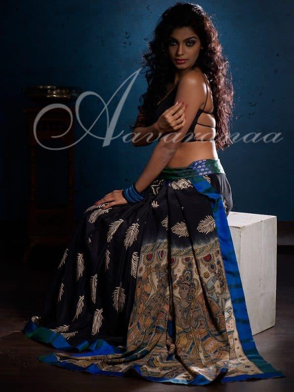 Black crepe silk sari-0