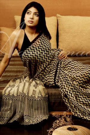 georgette sari with zig zag block prints-0