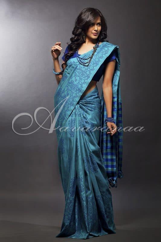Kancheepuram silk saree with hand block printing-0