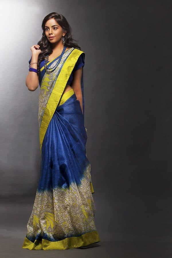 Blue & white silk Kota saree-0