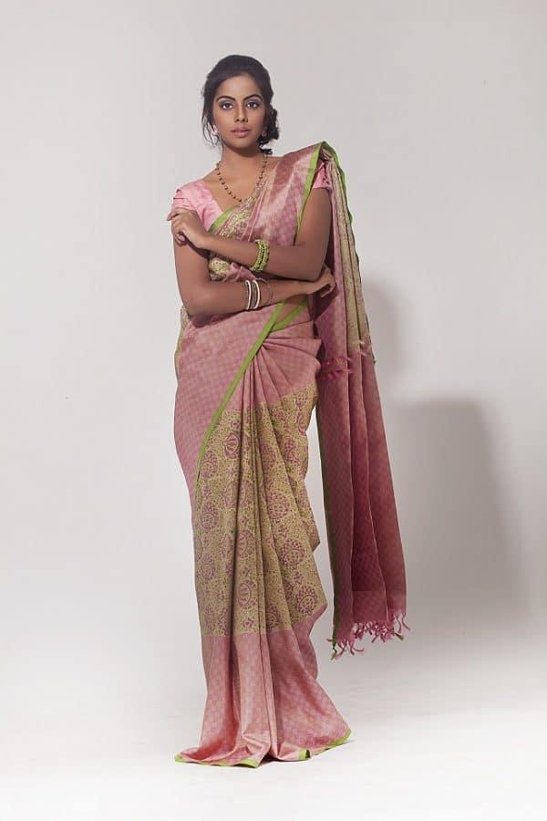 Creamish pink kanchipuram silk saree-0