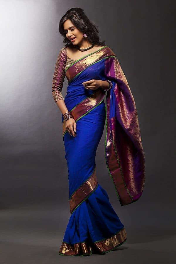 blue chiffon saree with kanchivaram zari border -0