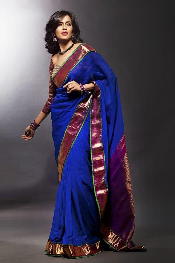 blue chiffon saree with kanchivaram zari border -460