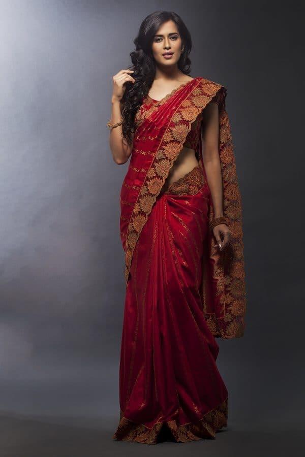 Bright red kancheepuram silk-0