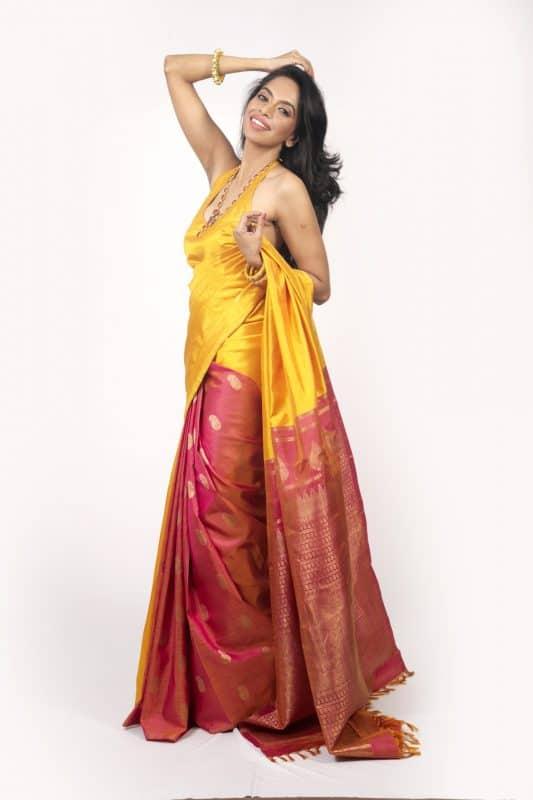 Yellow and purple partly pallu kanjeevaram -0