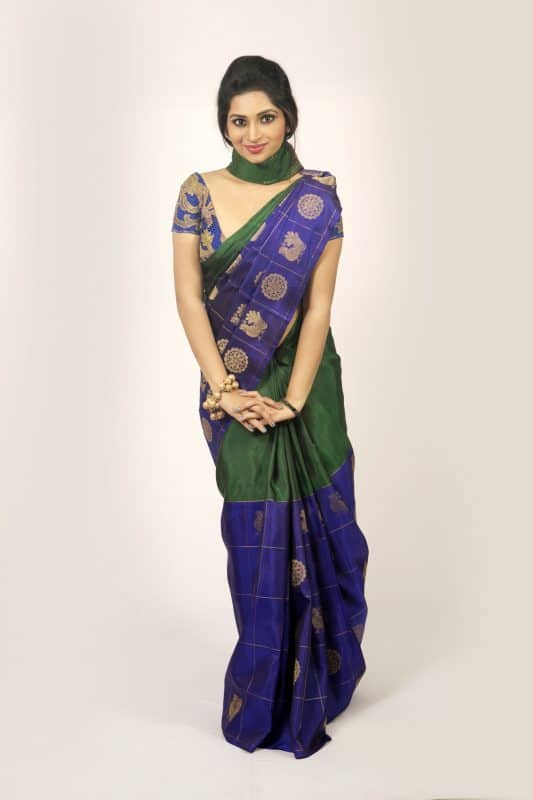 Blue green half n half kanchi silk saree-0