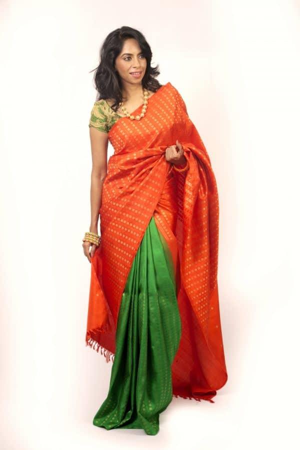 Orange and green half half kanchi silk-0