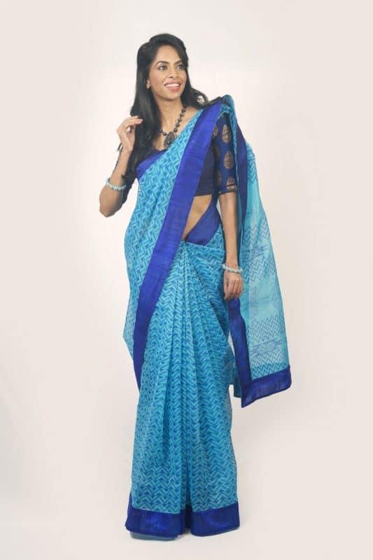 Blue organza block print saree-0