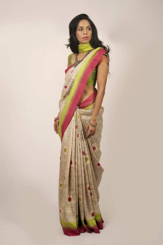 Calligraphy tussar saree-0