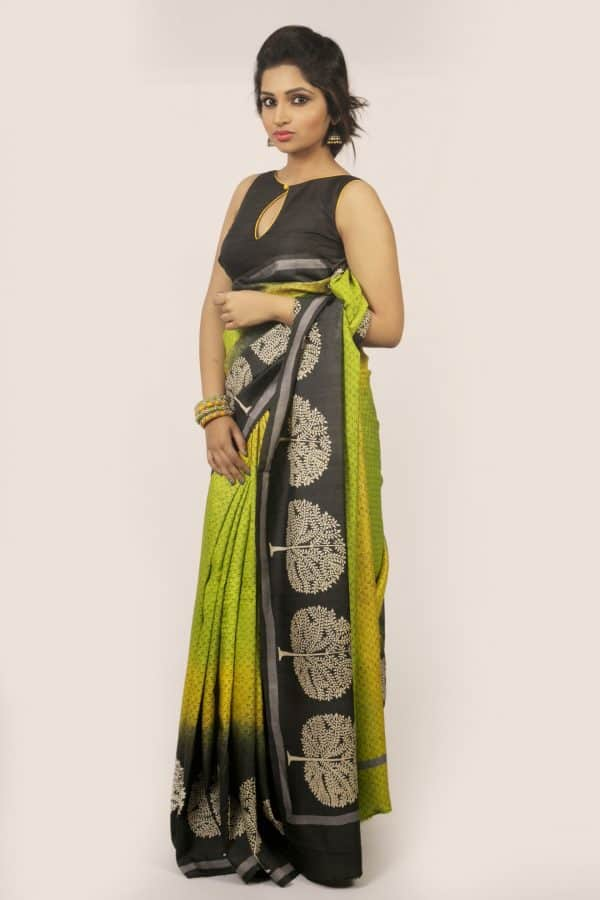 Shaded tree print tussar saree-0