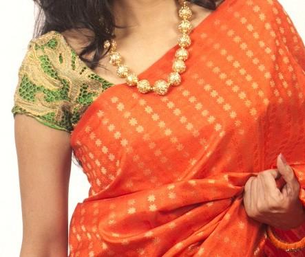Buy Green Cutwork Blouse with Kundan Work   Aavaranaa-0