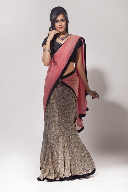 Skirt saree with printed jute-0