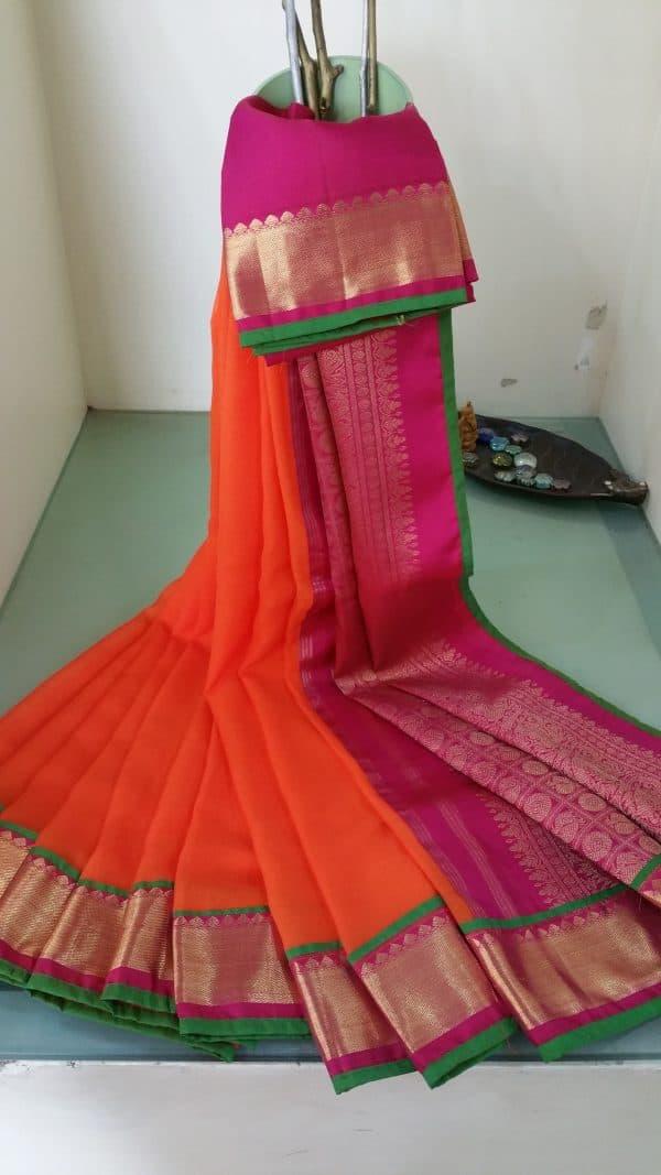 Orange chiffon saree with kanchivaram zari border-0