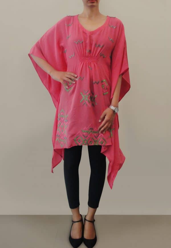 Peach Crepe Kaftan with Sequin Details-0