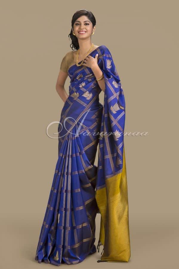 Royal blue kanchipuram silk saree-0