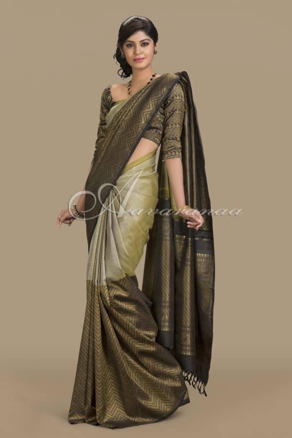 Beige and black thread work silk saree-0