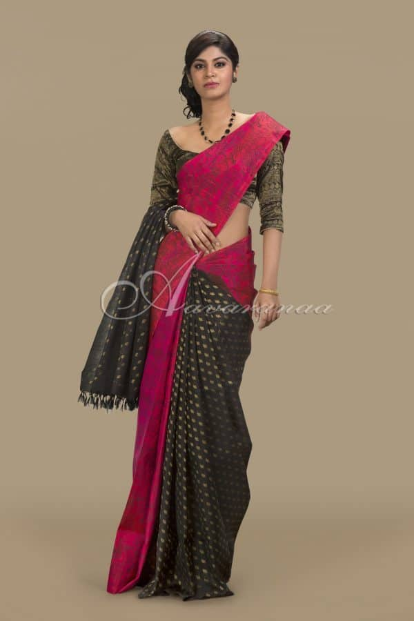 Pink and black partly pallu-0