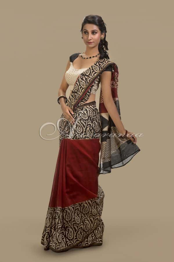 Chandheri in maroon & Black-0
