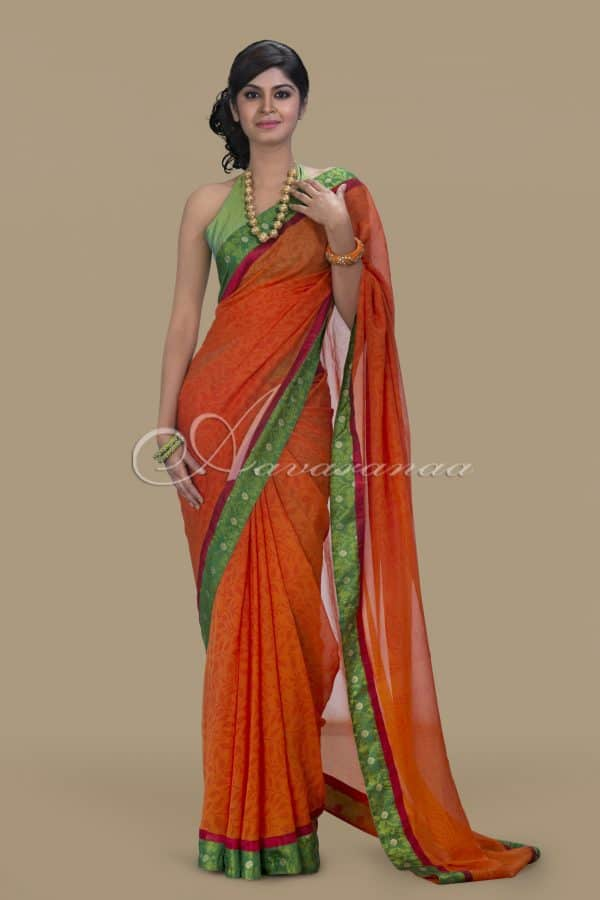 Chiffon saree with all over prints-0