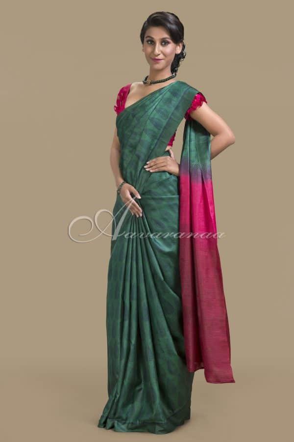 Green tussar silk saree-0