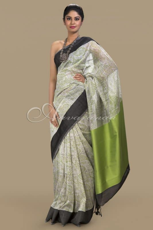 White matka silk saree-0