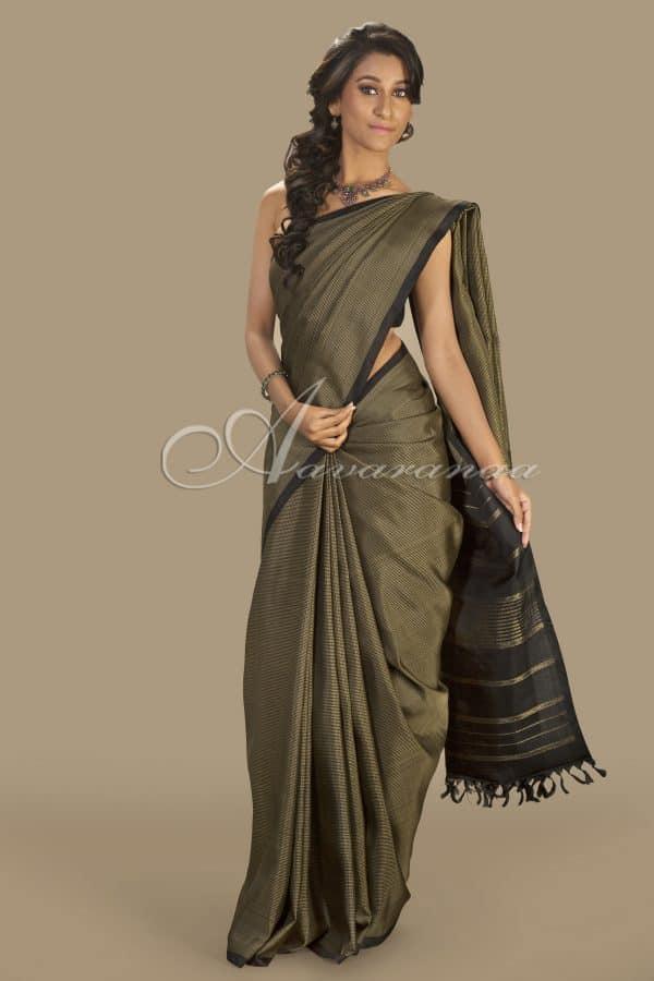Black with beige silk saree-0