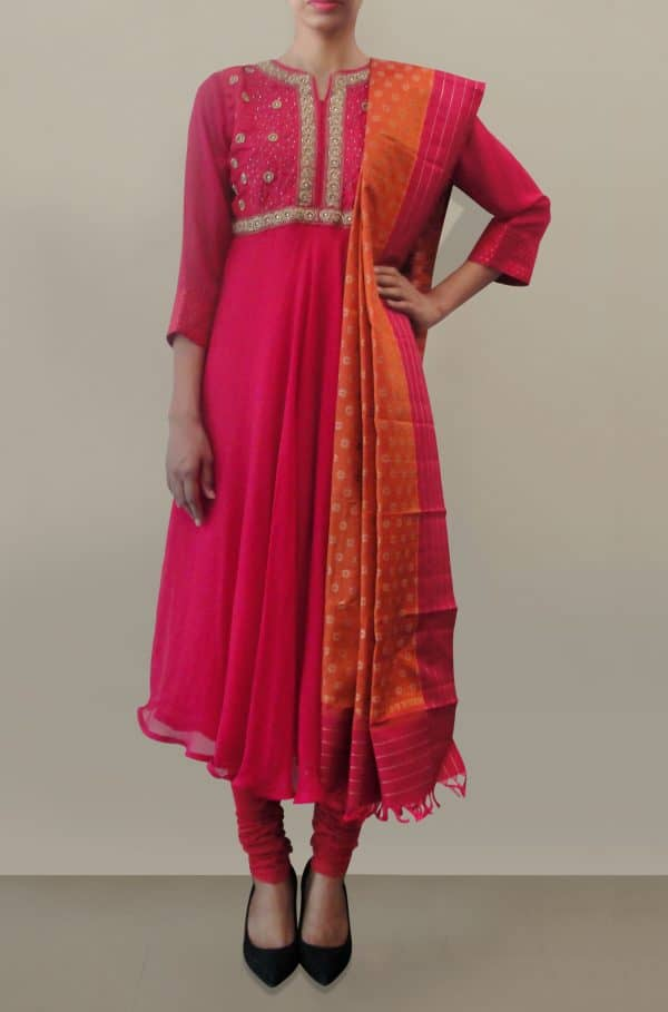 Pink Anarkali with silk dupatta & heavy embroidery-0