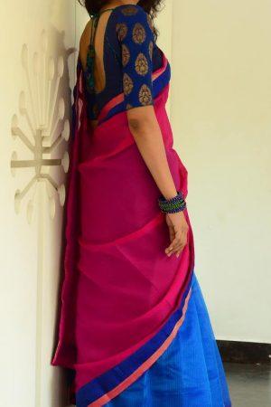 Half & half saree in pink and blue-1570