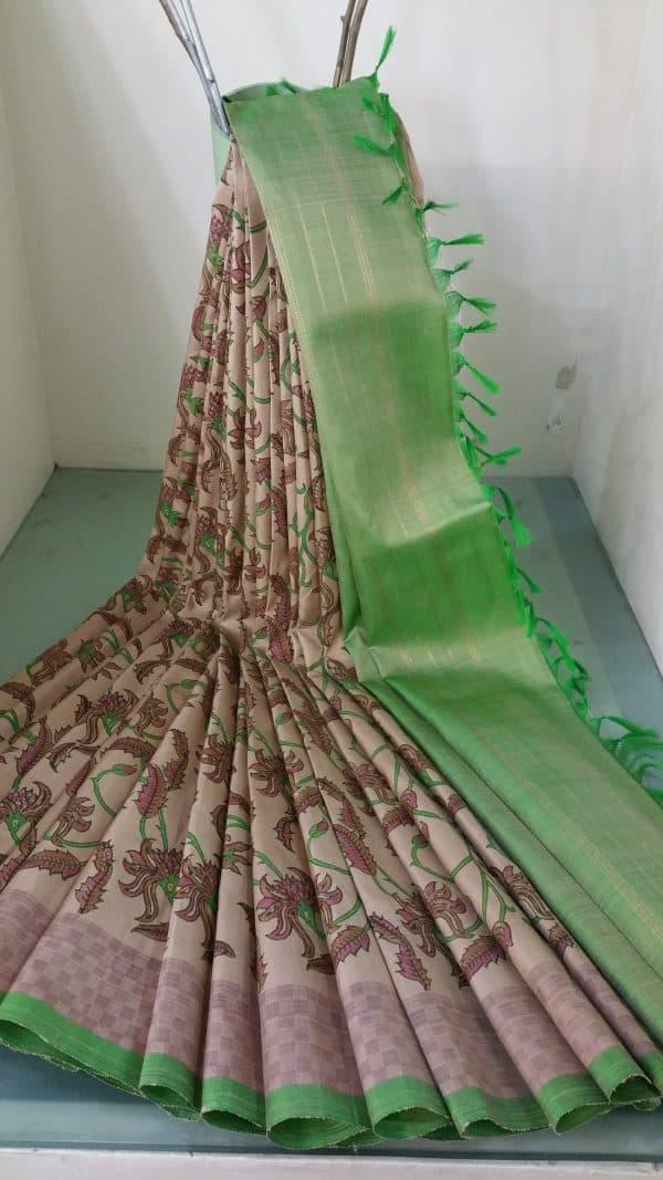 Block printed silk saree in beige-0